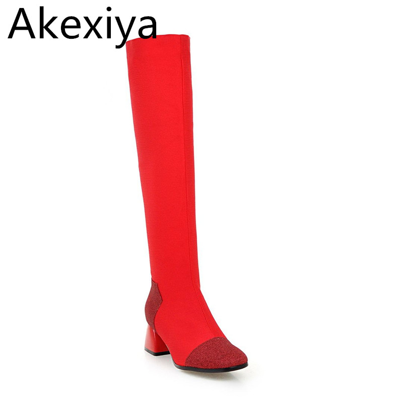 Akexiya 2017 Handmade Winter Large Size Suede Over The Knee Boots Women High Heel Black Zip Up Long Boots Chunky Heels Round Toe 2015 hottest drop shipping vintage round toe strappy zip knee high boots studs chunky heel leather boots women high heels j459