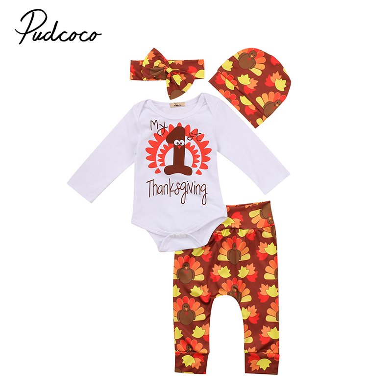 4PCS Set My 1st Thanksgiving Newborn Baby Boy Girl Clothes Long Sleeve Romper Tops+Long Pant Headband Hat Outfit Bebek Giyim Set 3pcs newborn baby girl clothes set long sleeve letter print cotton romper bodysuit floral long pant headband outfit bebek giyim