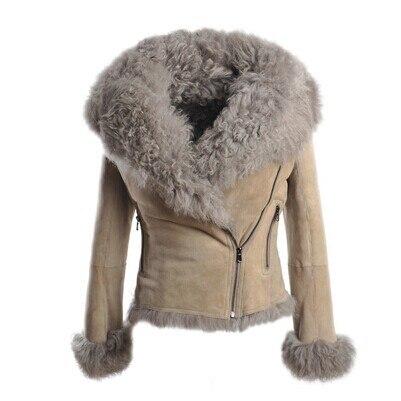 Women Fashion Winter Genuine Sheepskin Shearling Coat Double Faced ...