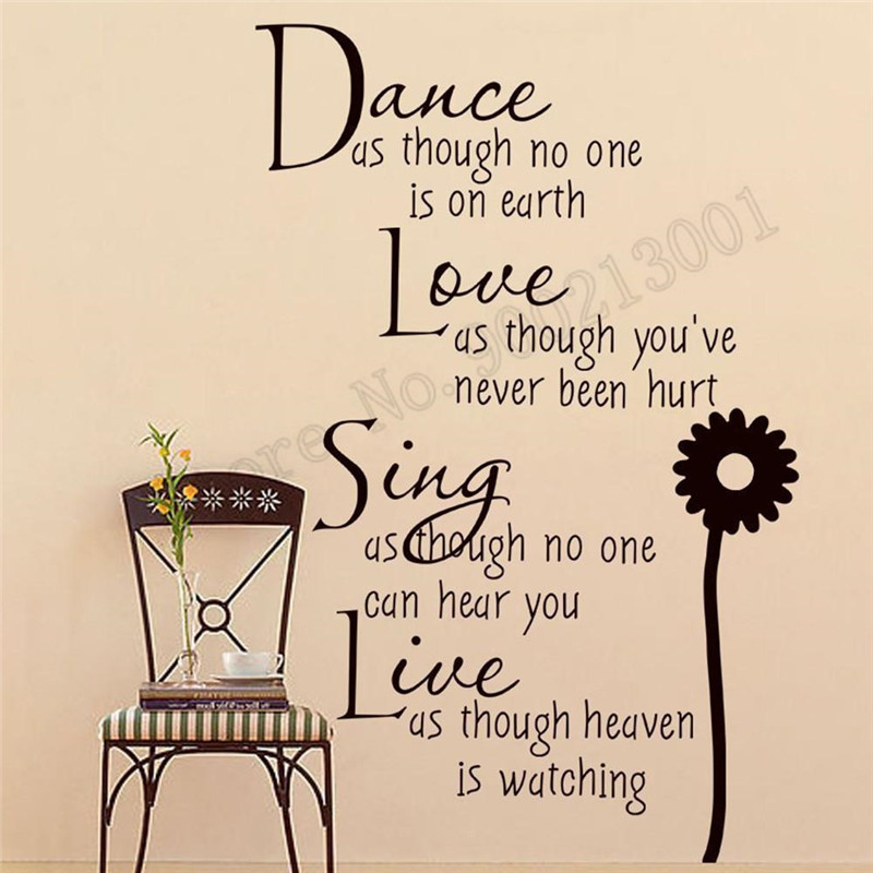 Wall Sticker Dance Love Song Words Room Decoration Vinyl Art Poster Removeable Mural Beauty Fashion Bedroom Ornament LY611 image