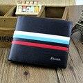 Homens bolsa de couro carteiras bogesi carteiras de marcas famosas 2 estilo artigo Curto Bolsa Masculino New Alta Qualidade com linhas de cor 1203-59