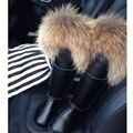 UVWP Nueva Hebilla Rodilla Altas Botas de Nieve de Las Mujeres Botas de Dama de La Moda A Prueba de agua de Calidad Superior de Cuero Real Botas de Invierno Botas Cálidas