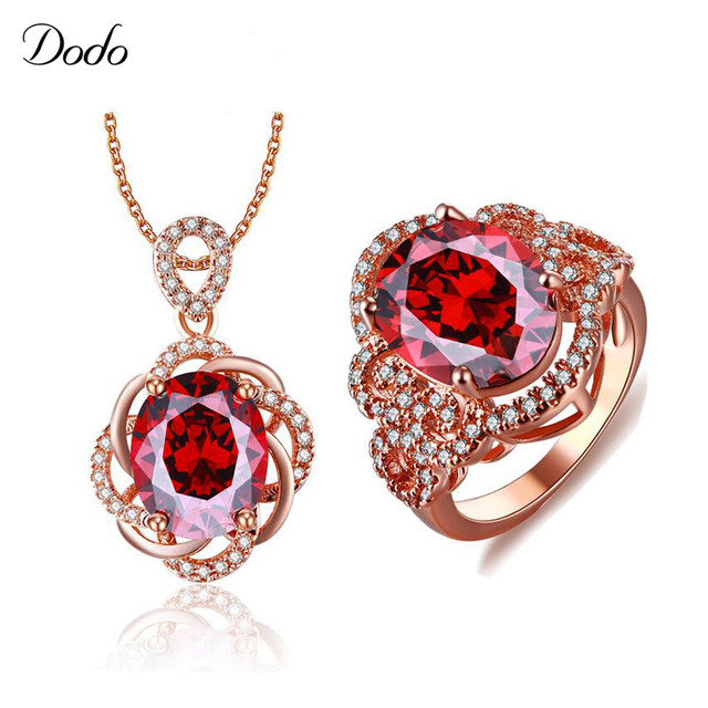 Rose Gold Color Jewelry Sets Big Red Crystal Bridal Dress Jewelry