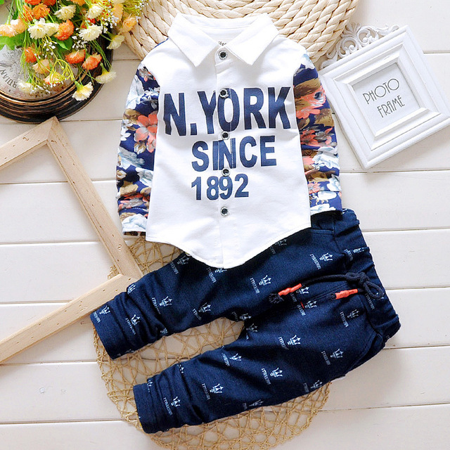 Fashion Spring Autumn Baby Boy Clothing Sets letter printed Shirt + Pants Kids Blouses Suit Infantal Gentleman Outfits Set 0-3Y