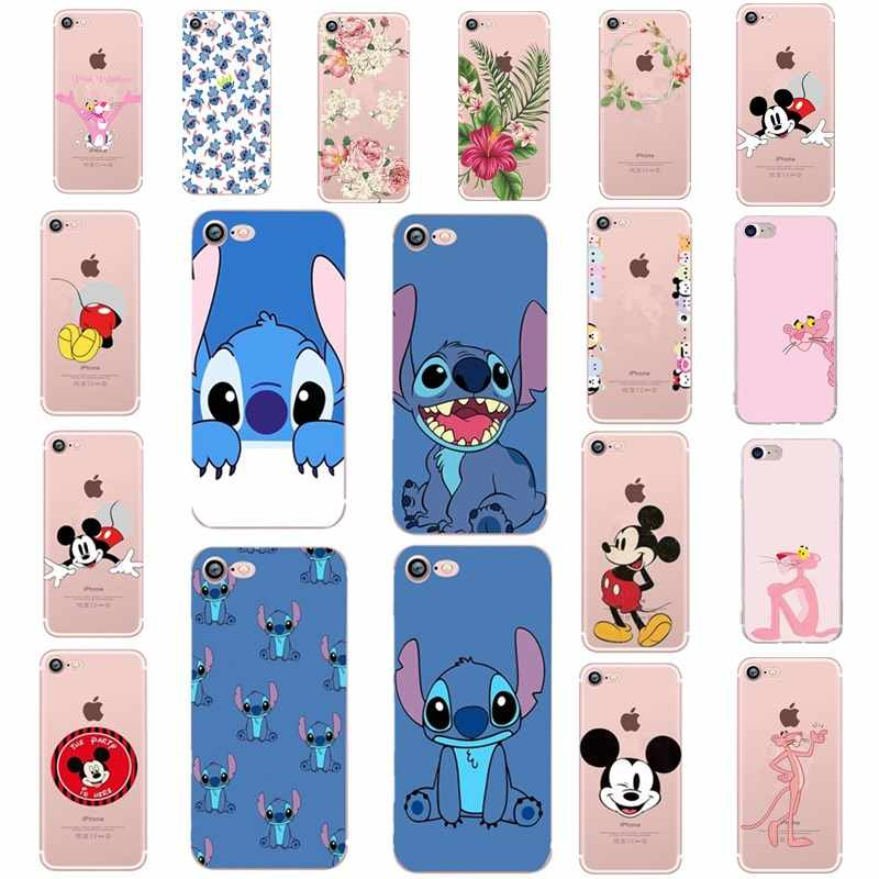 Mickey Minnie Mouse Stitch Pink Panther Tritone Lembut Silicone Ponsel Case untuk Apple iPhone 8 7 6 6 S PLUS X XS 5 5 S SE Mobile Cover