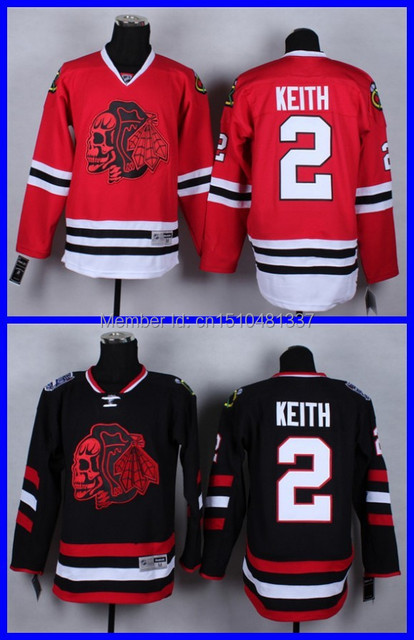 e57b1b5d84d ... best price skull series 2 duncan keith chicago blackhawks black red ice  hockey jerseys personalized red