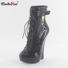 2574b86f39f Wonderheel new patent leather extreme high heel 18cm heel with 3cm platform wedge  ankle boots locked padlocks women sexy boots