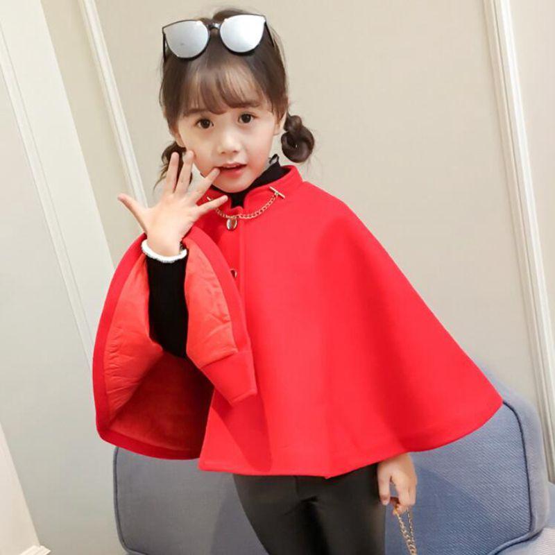 4cb0600f618c Warm Thicken Winter Baby Shawl Toddler Clothes Girls Cloak Wool Coat ...