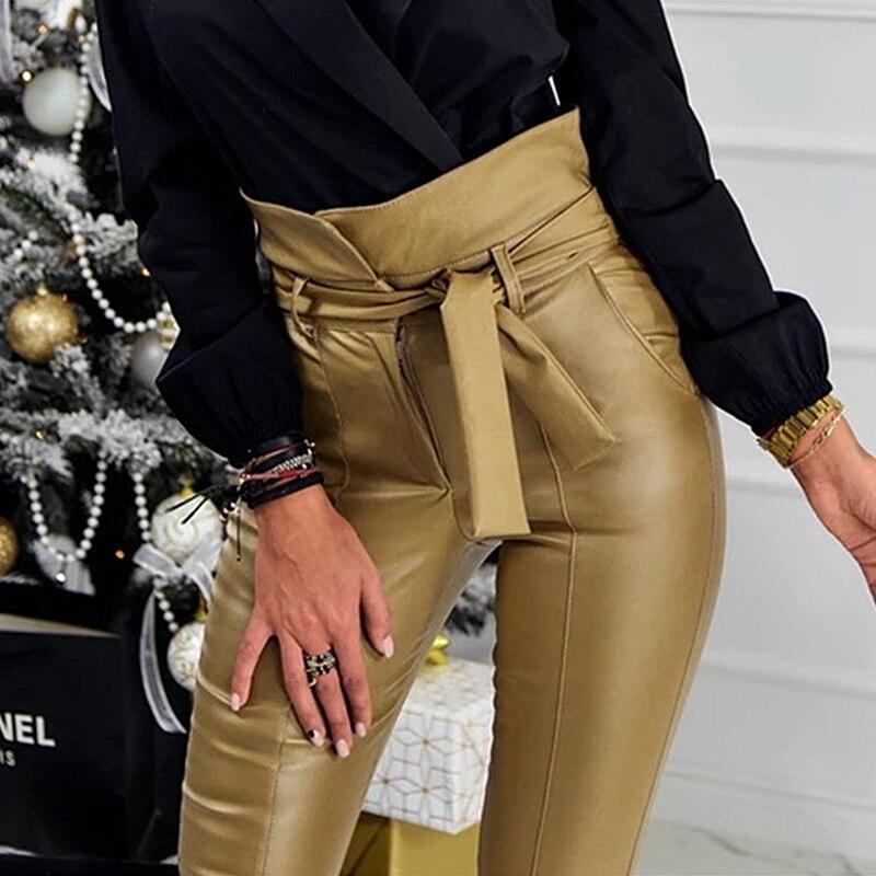 3d12c5623568b InstaHot Or Noir Ceinture Taille Haute Crayon Pantalon Femmes Faux En Cuir  PU Ceintures Long Pantalon Casual Sexy Exclusive Design Mode