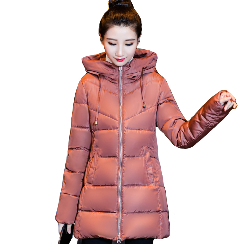 Stand Collar Hooded Winter Women Jacket Outwear Womens Jackets Slim Cotton Padded Winter Female Coat Long   Parka   Camperas