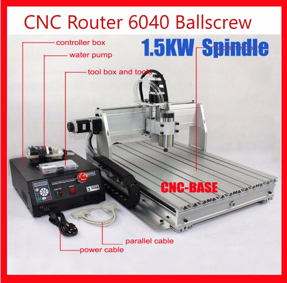 6040 CNC Router  1.5KW spindle +  1.5KW VFD CNC 6040  engraver engraving / pcb drilling and milling carving machine 220V/110V eur free tax cnc 6040z frame of engraving and milling machine for diy cnc router