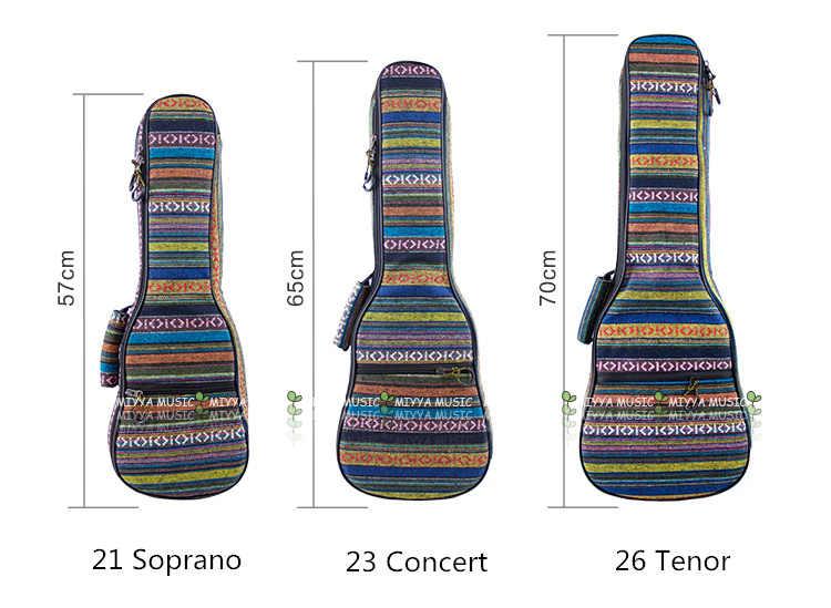 לעבות סופרן קונצרט טנור Ukulele תיק מקרה תרמיל 21 23 26 אינץ Ukelele בז 'מיני גיטרה אביזרי חלקי גיג