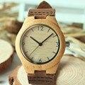 BOBO F15 Movimiento Japonés 2035 de Madera de Bambú de AVES Relojes Banda de Cuero Real de Las Mujeres Vestido de Relojes de Pulsera Para Los Regalos de Navidad