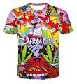 Estilo de dibujos animados de moda de Verano drogas 3D t camisa de manga corta de la calle camiseta top plus tamaño ropa casual hombres de las mujeres