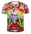 Estilo de moda de Verão dos desenhos animados drogas t 3D camisa rua de manga curta tee top plus size mulheres roupas casuais homens