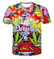Fashion Summer Style cartoon drugs 3D t shirt short sleeve street top tee plus size casual clothing women men