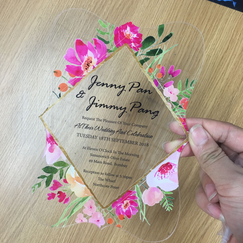 Us 13 0 2018 Flower Printing Acrylic Wedding Invitation Card Various Shape Wedding Favor Engagement Cards Design In Cards Invitations From Home