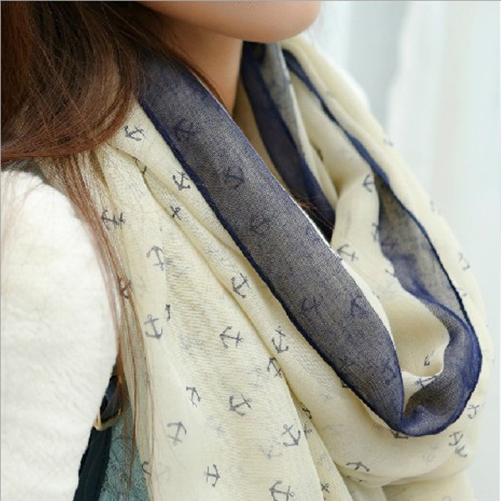 MwOiiOwM New Arrival Fashion Autumn And Winter  Ladies' Nautical Style Anchor Long Scarf Wraps Voile Scarf Scarves Shawl SX-832