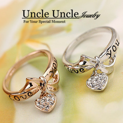 Lovely Rose Gold Color Rhinestones Love You Letters Design Heart