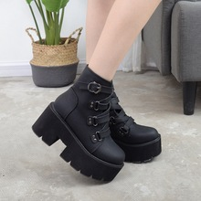 2019 New Fashion  Round-Headed High-heeled Women boots high sole  inside Thick-heeled Martin Boots ankle boots for women chain design block heeled ankle boots