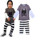 New 2016 Baby boy clothing set cartoon print T-shirt + stripe pant cute baby girl clothes boys 2pcs sets ropa bebe infantil nino