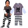 Nuevo 2016 ropa de bebé niño impresión de la historieta T-shirt + stripe pant bebé lindo muchachos de la ropa 2 unids sistemas ropa bebe infantil niño