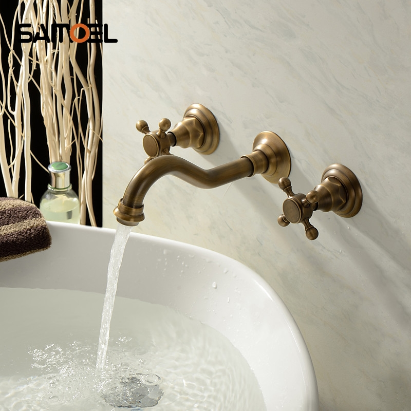 Wholesale and Retail Antique Brass Bathtub Mixer Taps 3 pcs Basin Dual Handles Hot and Cold Wall Mounted Basin Faucet BF1013Wholesale and Retail Antique Brass Bathtub Mixer Taps 3 pcs Basin Dual Handles Hot and Cold Wall Mounted Basin Faucet BF1013