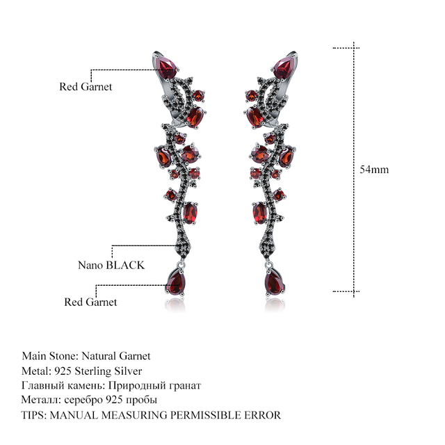 GEM'S BALLET Natural Red Garnet Gemstone Earrings 925 Sterling Sliver Vintage Punk Gothic Drop Earrings For Women Fine Jewelry