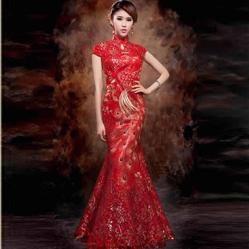 2019 Fashion Red Lace Mermaid Evening Dress Long Qi Pao Embroidery Phoenix Bride Cheongsam Chinese Traditional
