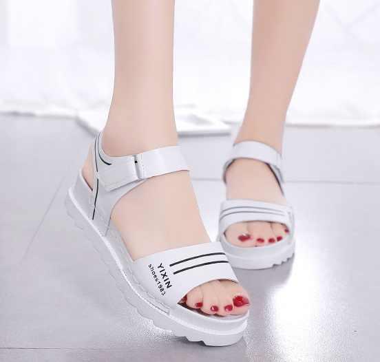 2019 รองเท้าแตะฤดูร้อนผู้หญิงรองเท้าแบน peep - toe sandalias รองเท้าแตะโรมันรองเท้าแตะผู้หญิงรองเท้าผู้หญิง Flip Flops รองเท้า