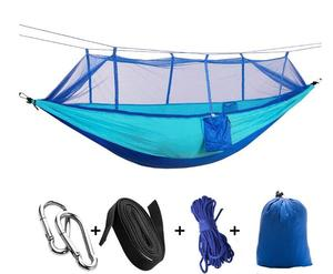 Image 2 - 1 2 Person Portable Outdoor Camping Hammock with Mosquito Net High Strength Parachute Fabric Hanging Bed Hunting Sleeping Swing