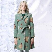 Jungle Me 2017 Spring Autumn New Vintage Jacquard Windbreaker Long Coats Slim V Collar Adjustable Waist Belt Women Trench Coat