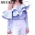 MCCKLE Мода женщины футболки slash шеи 2017 Весна оборками блузка сексуальные дамы полный рукавом в полоску Блузки повседневная Одежда топы