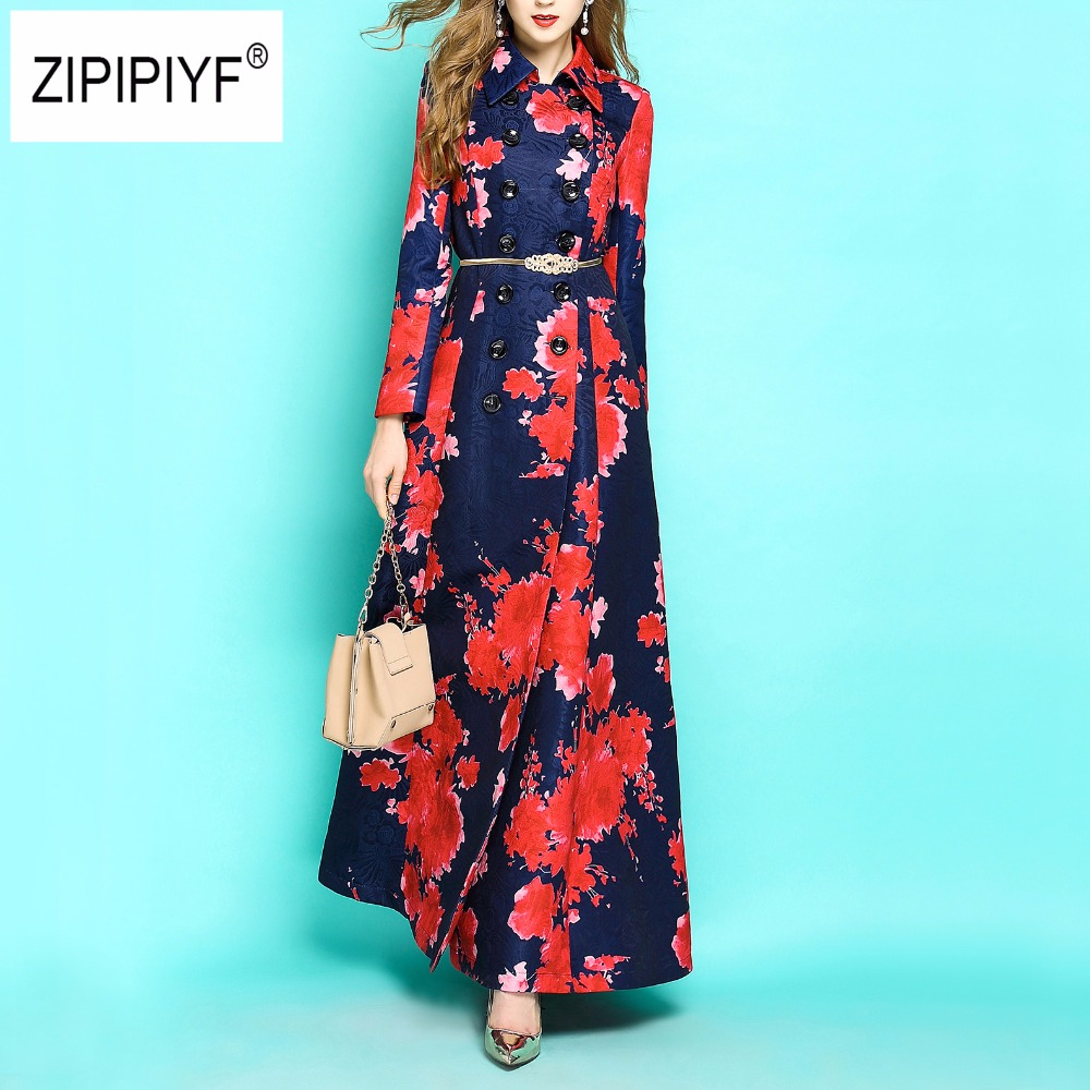 Plus size Women autumn trench Double breasted floral print dobby X-long trench casual work formal maxi trenches windbreaker B379