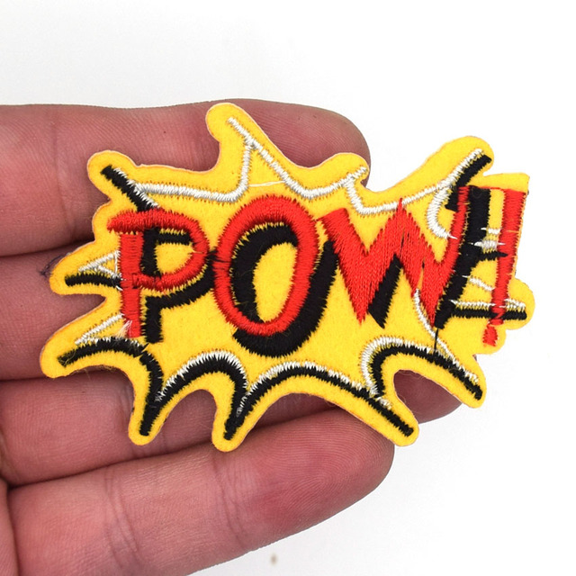 2Pcs POW words funny patch Embroidered Iron on Hat Jacket Hoodie Backpack  Ideal for Gift 071cf40bc3e