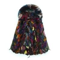 Colorful Fox fur coats parka real green Fur Coat Jacket Women Winter Fur Coat Plus size mr mrs fur