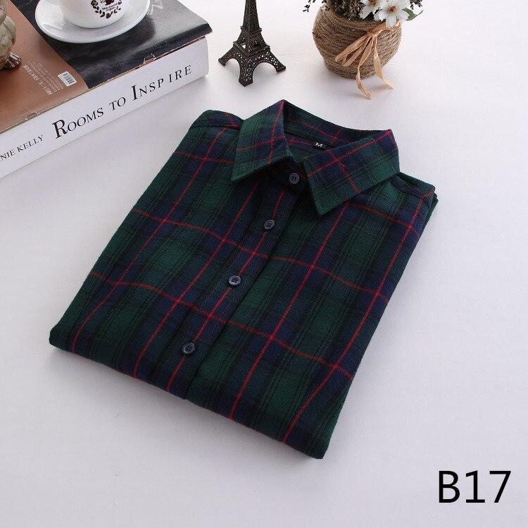 2018 Fashion Plaid Shirt Female College Style Women's Blouses Long Sleeve Flannel Shirt Plus Size Casual Blouses Shirts M-5XL 34
