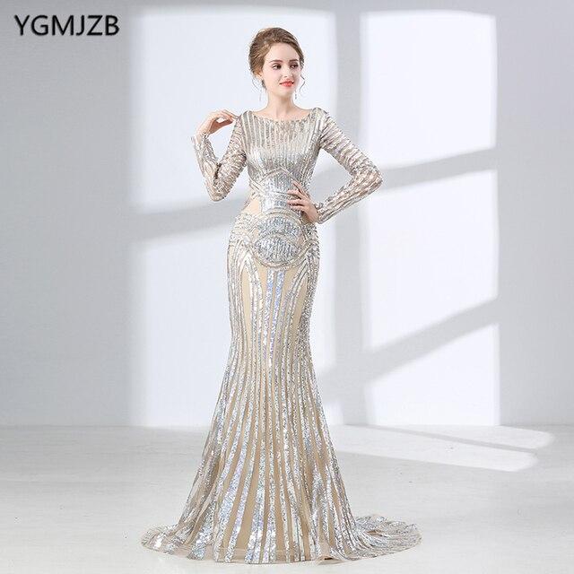 Luxury Long Sleeves Evening Dresses 2018 Mermaid Sequin Muslim ...