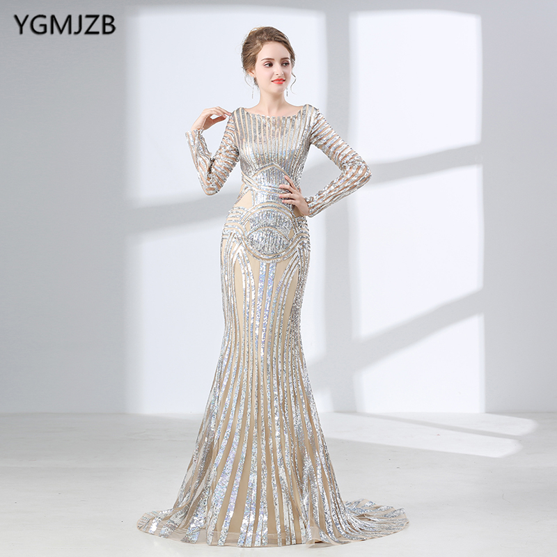 Luxury Long Sleeves   Evening     Dresses   2018 Mermaid Sequin Muslim Arabic Style Women Formal   Evening   Party Gown Robe De Soiree