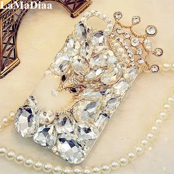 LaMaDiaa 3D Rhinestone Case for Xiaomi 10 9 MAX3 Redmi 5A 6A 8A Note 5 6 7 8T 8 Pro Bling Crystal Diamond Protective Shell Cover