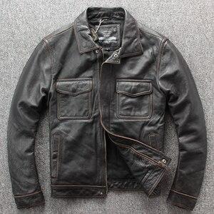 Image 2 - Ücretsiz kargo. marka yeni klasik deri ceket. erkek casual vintage kalın ceket. dana sıcak ceketler. taş değirmen motoru artı boyutu