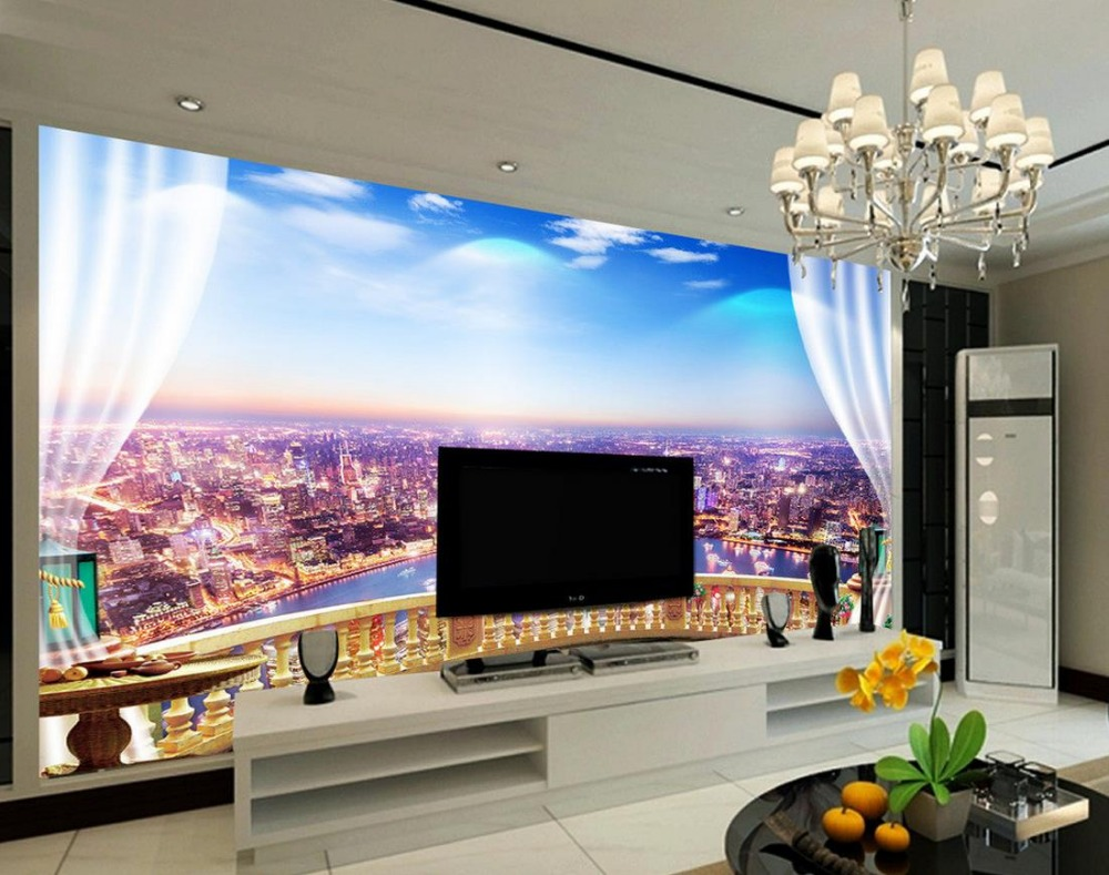 Fotowand Papier Us 15 12 58 Off Custom 3d Fotowand Papier Stad Venster Mode 3d Behang Tv Achtergrond Behang De Woonkamer Bank Achtergrond Mural In Behang Van