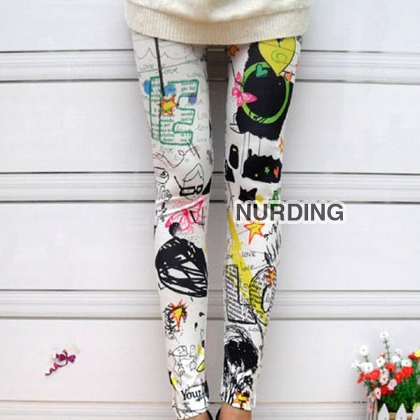 FREE SHIPPING Hot Fashion Graffiti Style Sexy Women Girls Soft Stretchy Leggings Tights Pants  Leggings/Tights