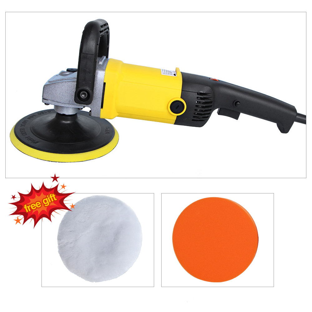 220V High Speed Car Polisher 6 Variable Speed 1200W High Power Car-polisher For Car Paint Care Polishing Waxing Free Pad Bonnet spta 4 100mm genuine wool buffing ball polishing pad ball hex shank turn power drill or impact driver high speed polisher