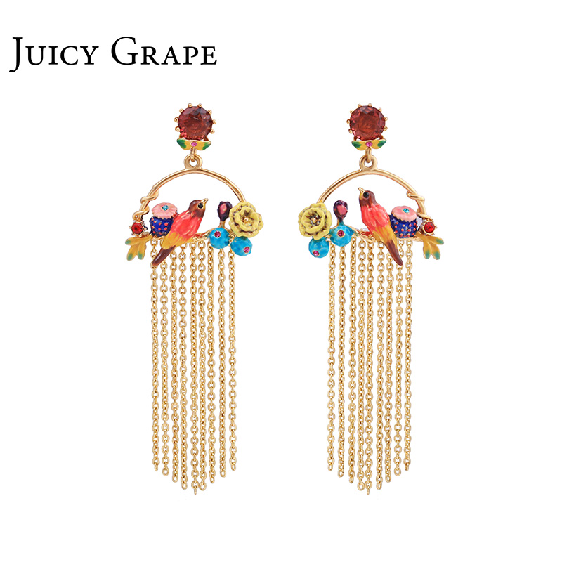 Raisin juteux 2019 nouveau oiseau fleur couleur vive gland boucles d'oreilles mode bijoux Sieraden Joyas bijoux Boucle D Oreille boucles d'oreilles