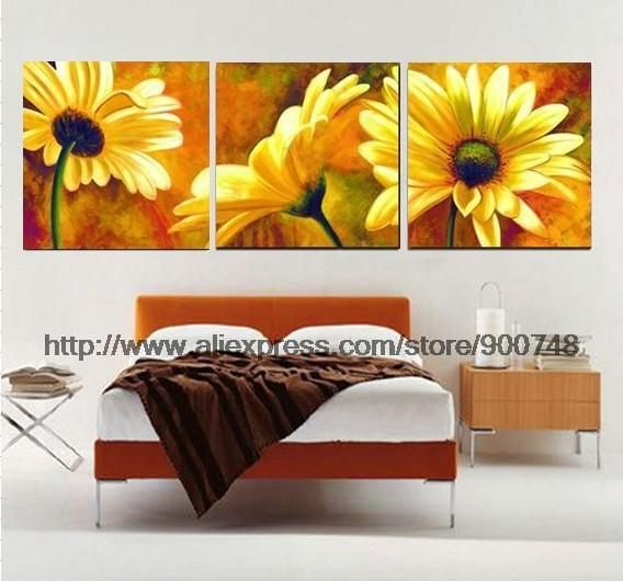 The Beautiful Real Art Flower Wall Canvas Painting Ideas Realistic Abstract Bathroom Background Oil