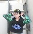 Camiseta Femme 2017 Nova Forma Das Mulheres Camiseta Coreano Ulzzang Harajuku Patchwork Camisetas de Manga Longa Mulheres Camisolas de Topos
