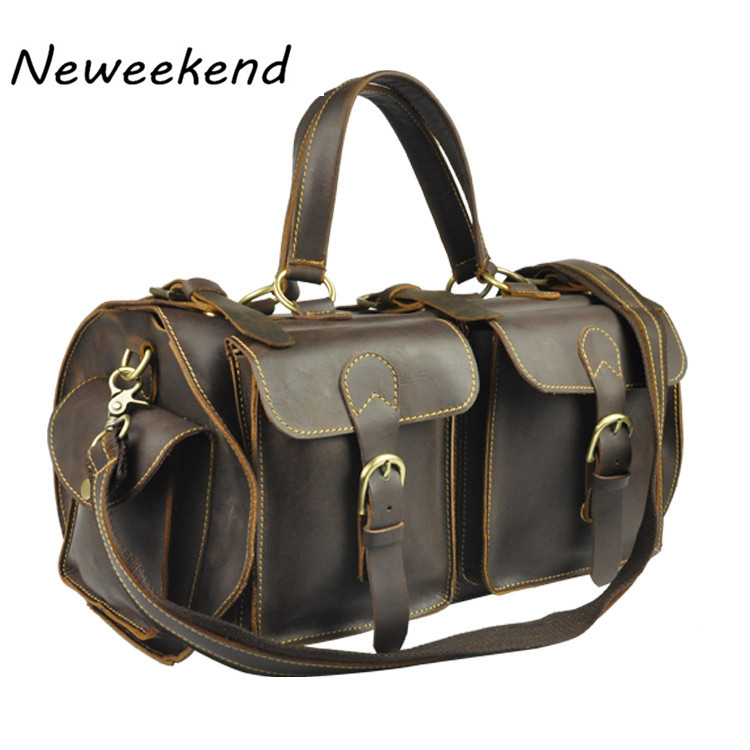 NEWEEKEND Retro Multi Pocket Genuine Leather Cowhide Crazy Horse Big Travel Duffel Crossbody Luggage Handbag for