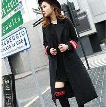HSC005 lady British style long wool coats/Black Pilot style uniform coat black medium long coats/women wool blended  coats/3size