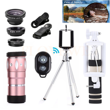 Best price Phone Lens 10X Zoom Telephoto Lenses Telescope +Tripod+Fish eye Wide Angle Macro Lentes For iPhone 4 5 5C 5S SE 6 6s 7 Plus